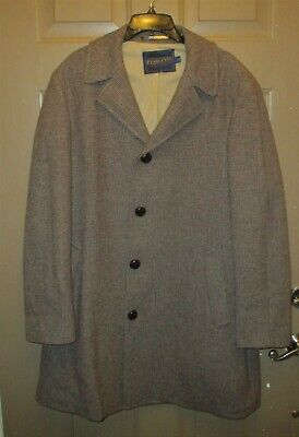 PENDLETON Men's Houndstooth Plaid Brown/Blue Wool Trench Coat-46 Vintage