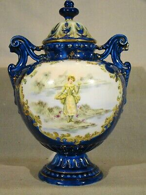 Antique Continental Porcelain Hand Painted Cobalt & Gold Covered Urn mid 19th c