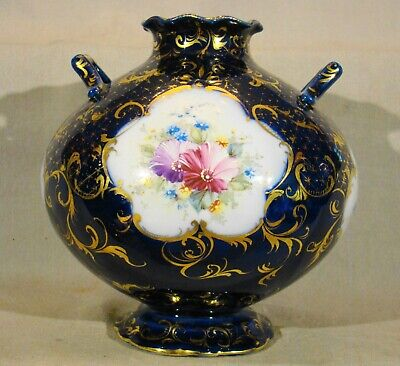 "Antique Continental Porcelain Hand Painted Cobalt & Gold Urn mid 19th c 7""h"