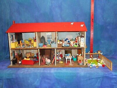 Vintage 1930s Deco Handmade Dollhouse Doll House Orig Wallpapers Red Shutters MS