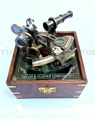 Antique Kelvin & Hughes Sextant Instrument Marine Working Sextant With Box Wood