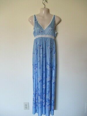 Vintage Val Mode Blue Floral Long Nylon Nightgown Loungewear Usa Made Medium Euc