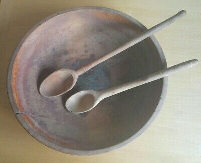 Vintage Rustic Boho FARMHOUSE Wooden Butter Dough Mixing BOWL & 2 SPOONS