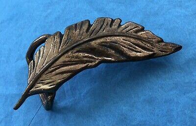 Vintage Old Antique Artist Signed Brass Or Bronze Feather Art Belt Buckle