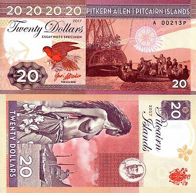 Scarce Pitcairn Islands $20 Fantasy Art Note By Gabris - Bounty, Topless Native!