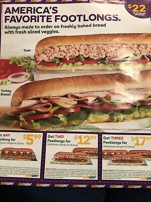 12 COUPONS SUBWAY $22 In Average Savings EXPIRE 4/8/20