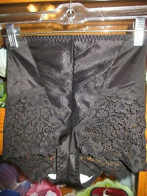 Vintage Panty Panties Black X Firm Control Lace Cheeks Delicates L 10-16 Tight