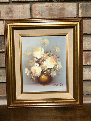 "Rare 1970S Artist Signed Irene Cox Oil On Board Flower Painting Framed 15"" X 13"""