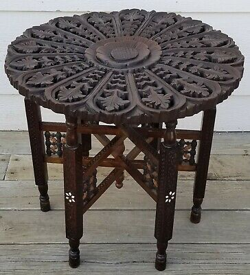 Vintage Moroccan Hand Carved Wood Round Side Tea Table w/ 6-leg Folding Base