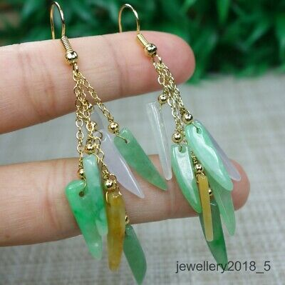 Certified Icy Green+White+purple+Yellow 100% natural A  jadeite jade Earring 耳坠
