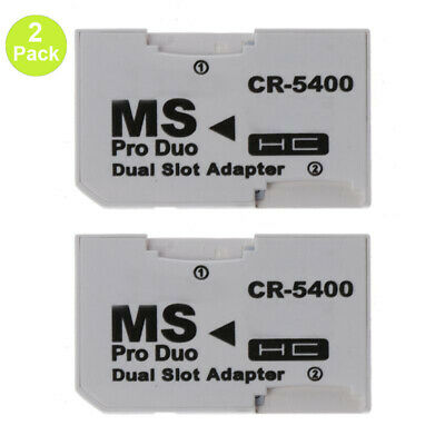 2 × Dual Micro SD TF to Memory Stick Card MS Pro Adapter Converter For PSP Sony