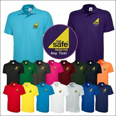 Personalised Embroidered Gas Safe T-Shirt Workwear Staff Mens Customised Tee TOP