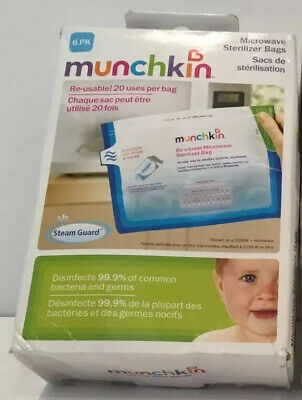 Munchkin 6 Count Microwavable Sterlizing Bags 20 Use Bag Lot Of Two