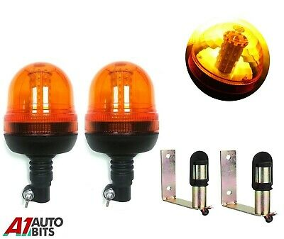 Set Of Flashing Warning Amber Beacons & Bracket Tractor Agricultural Vehicles #D