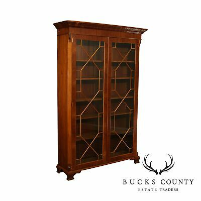 English Yew Wood Tall 2 Door George II Style Library Bookcase