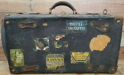 1930's Luggage Suit Case Travel Stickers Contents Havana Cuba Kingdom Italy VTG