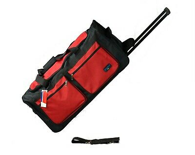 """30"""" 50 LB Capacity Rolling Wheeled Duffle Bag / Suitcase /Luggage Black/RED NEW"""