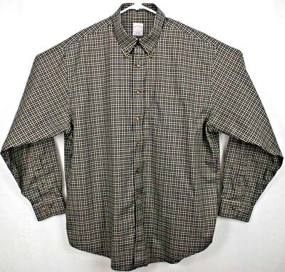 Brooks Brothers 346 Mens Shirt XL L/S Button Down Brown/Blue/White Checks Cotton