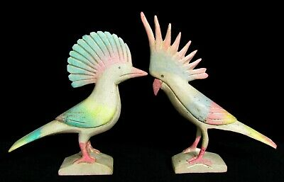 Pair Hand Carved Wood Tropical Bird Parrot Figurines by Lorelei of Key West