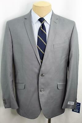 New 44R Kenneth Cole Slim Fit Stretch Gray Check  Men's Double Vent Suit MA0