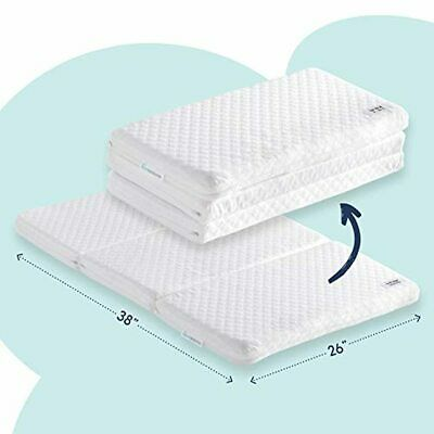 hiccapop Tri-fold Pack n Play Mattress Pad with Firm (for Babies) & Soft (Toddle