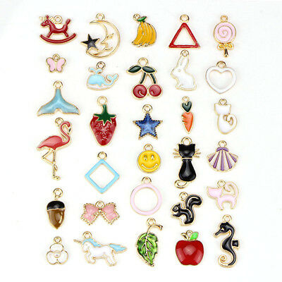 30PCS Mixed Enamel Beads Pendants Charms Craft DIY Jewelry Find CR