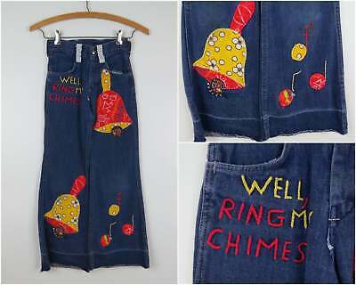 Vintage 1970s Kids Jeans with Patchwork & Embroidery Childrens Size 8 Waist 21""