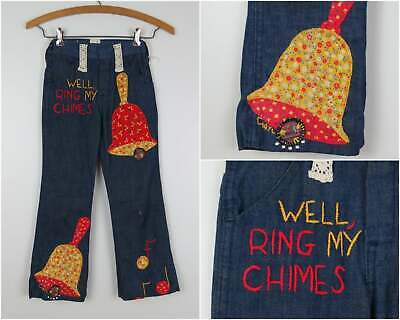 Vintage 1970s Kids Jeans with Patchwork & Embroidery Childrens Waist 20""