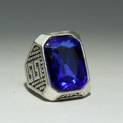 Collectable China Old Miao Silver Armour Zircon Hand-Carved Delicate Noble Ring