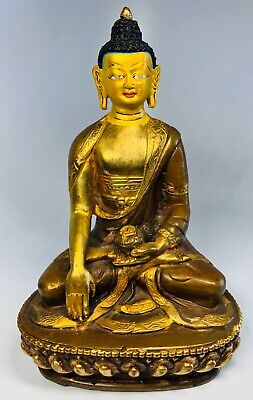 """Antique 1920s Chinese Hand-Painted Bronze Seated Meditation Buddha Figure 6"""""""