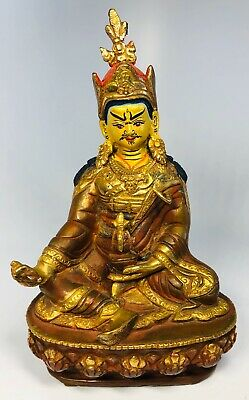 """Antique 1920s Chinese Hand-Painted Bronze Seated Buddhist Guan Yin Figure 6"""""""