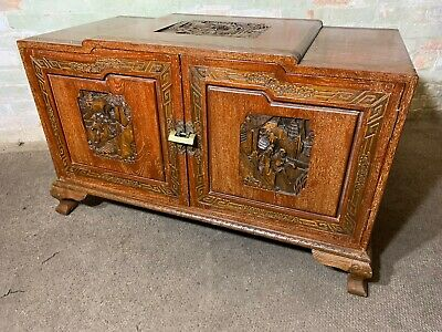 Vintage Chinese Limex Solid Teak Carved Chest Trunk Delivery Available All Areas
