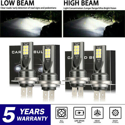 2X H7 LED Headlight Kit 60000LM High or Low Beam Bulbs 6000K for Audi A3 A4 A5