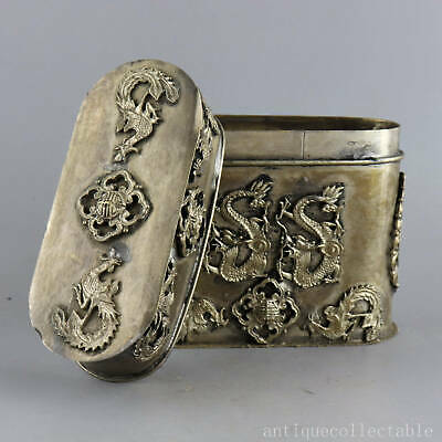 Collect China Old Tibet Silver Carve Myth Dragon & Phenix Royal Family Noble Box