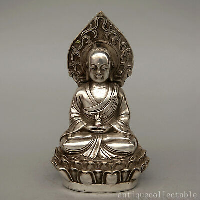 Collectable Qianlong Years Old Tibet Silver Hand-Carved Exorcism Buddhist Statue