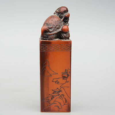 Collect China Old Shoushan Stone Hand-Carved Myth Dragon Turtle Luck Seal Statue