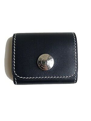 Auth Hermes Mini Note Pad Sticky Notes Memo Blue Box Leather Palladium