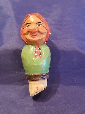 Old Lady Wooden Cork Stopper. A Great Collectible. TRYGG TYPE CARVING VINTAGE