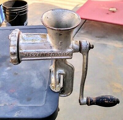Antique Vintage Alexanderwerk No 8 Meat Grinder With Wood Handle - Germany