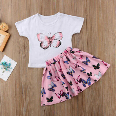 Toddler Baby Girls Butterfly Printed Outfits Clothes Summer Matching Top T-shirt