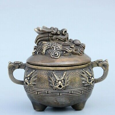 Collectable China Old Bronze Hand-Carved Myth Dragon Auspicious Delicate Censer