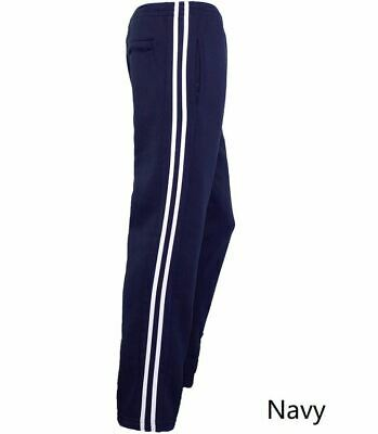 Men's Fleece Line Casual Sports Track Suit Striped Sweat Pants Gym Trackies