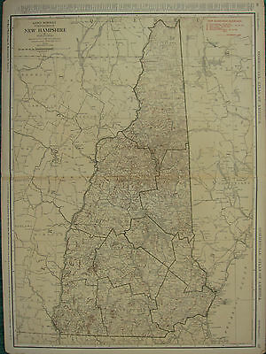 1922 Large Map ~ New Hampshire Railroads Electric Lines Capitals ~ Rand Mcnally