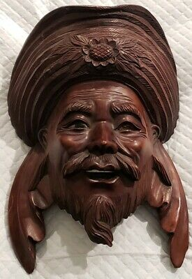 Vintage Wooden Hand Carved  Genghis Khan Wall Hanging Plaque