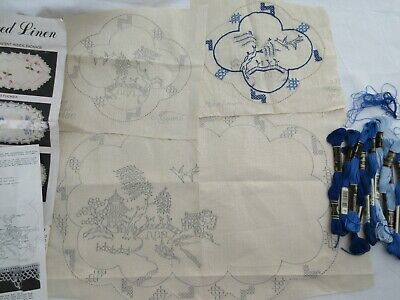Myart Embroidery Traced Linen 1486 Blue Willow Pattern Kit Started + 12 Cottons
