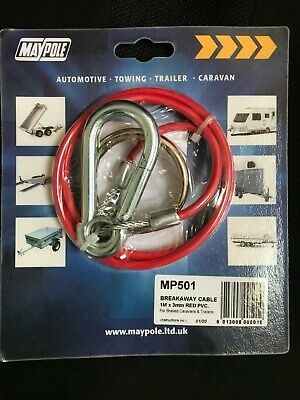 NEW SEALED Maypole Breakaway Cable - Plastic Coated - Red