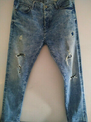LD8) Boys/mens jeans 34/30 teen boy ripped blue jeans Denim & Co