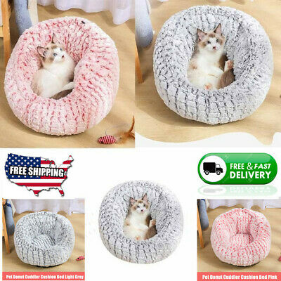 Pet Dog Cat Round Bed Donut Home Nest Warm Soft Long Plush Sleep Mat 23.6 Inch
