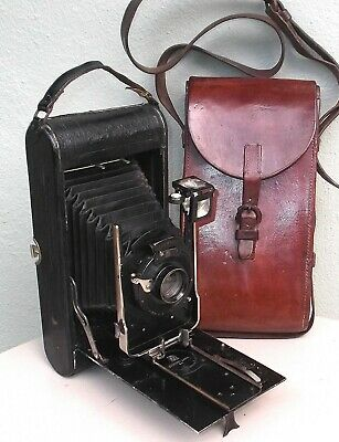 Vintage Ernemann Folding Camera With Original Leather Case Marked Cairo 1924