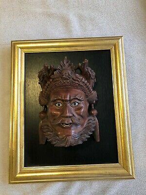 C19th Antique Carved Wooden Chinese Mask Glass Eyes, Inlaid Teeth